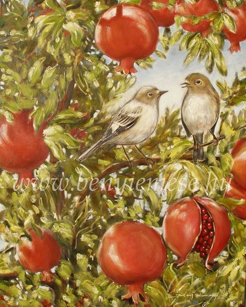 Együtt a gránátalmás kertben - tájkép festmény