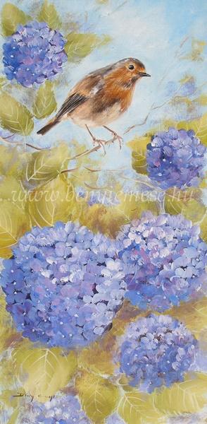 Hortenziák között - Csendélet festmény