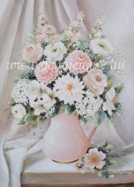 Kedves csokor szív virággal - csendélet festmény