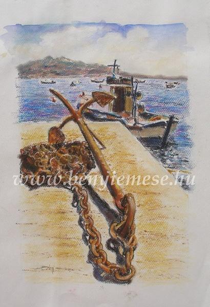 Santorini - Akvarell kép