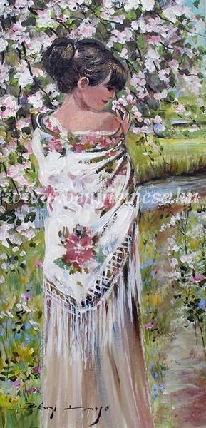 Tavaszi illat - figurális festmény