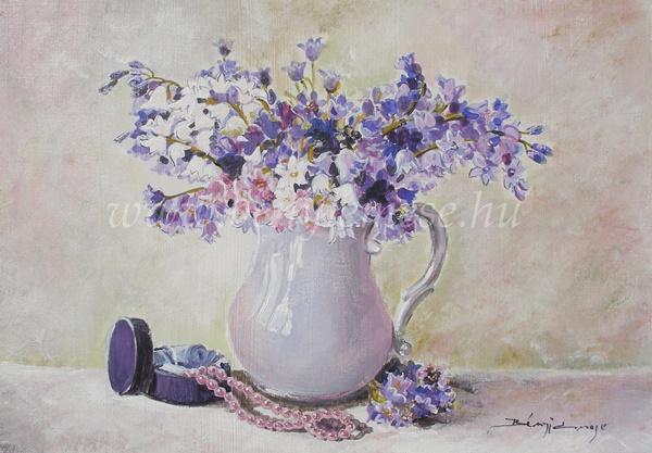 Kék csokor- csendélet festmény