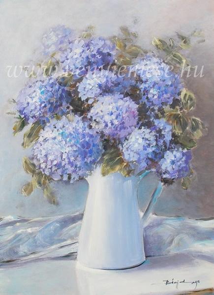 Kék hortenziák - csendélet festmények