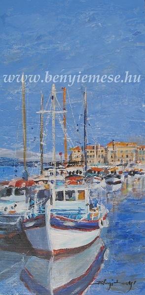 Kikötő - tájkép festmény