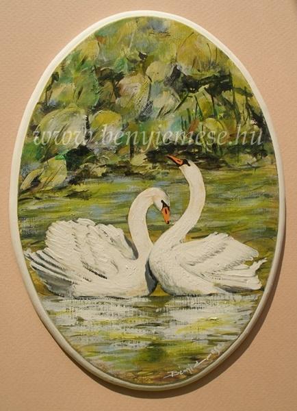 Szerelmes hattyúk - csendélet festmény