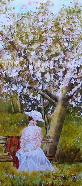 Tavaszi csend - figurális festmény