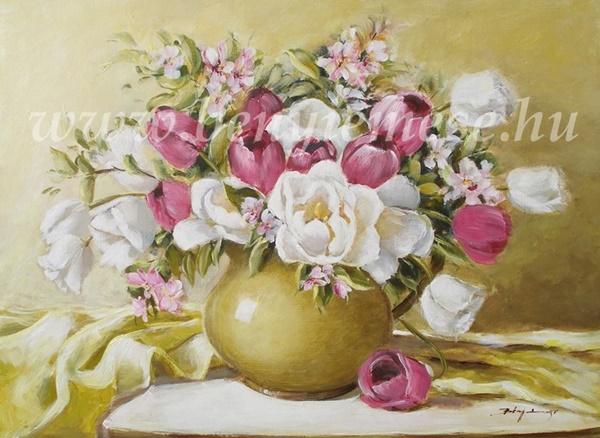 Tavaszi csokor - csendélet festmény