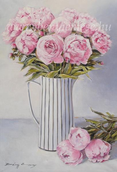 Bazsarózsák vázában - Virágcsendélet festmények
