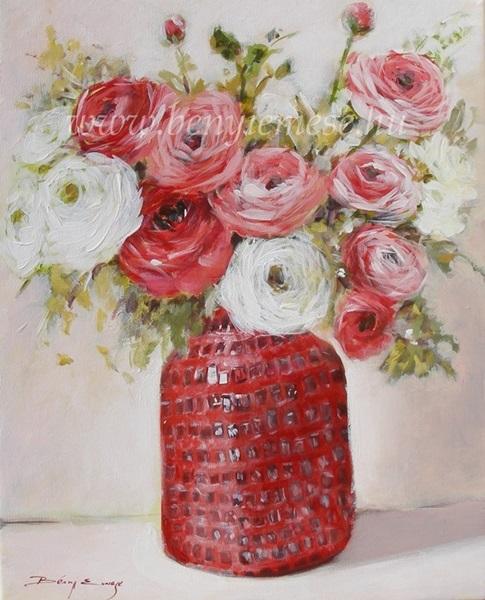 Boglárkák vázában - Csendélet festmény