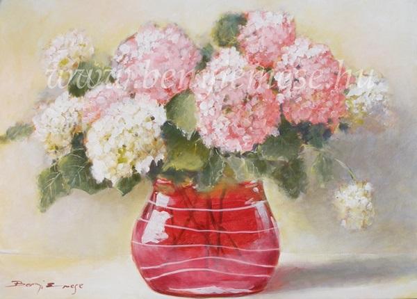 Festmény - Hortenziák - Csendélet
