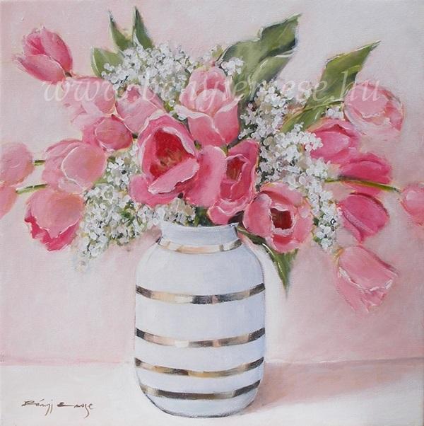 Rózsaszín tulipánok - Virágcsendélet festmény