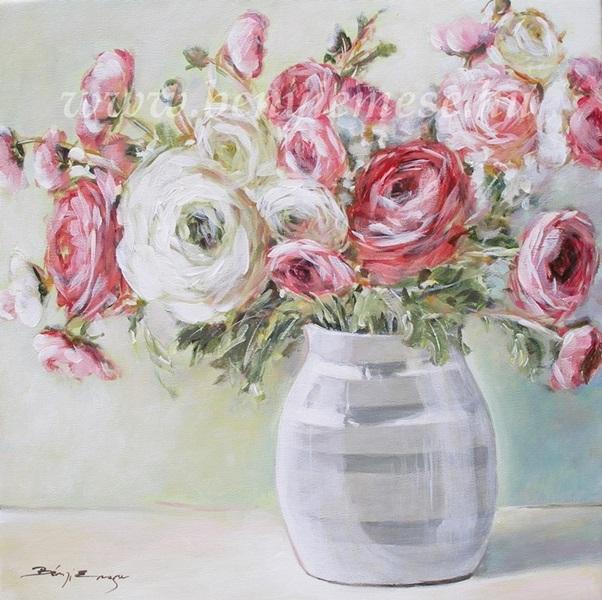 Tavaszi boglárkák - Csendélet festmény
