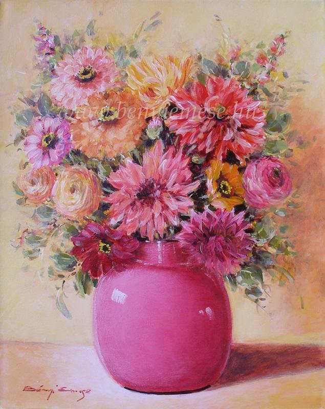 Színes csokor - virágcsendélet festmény