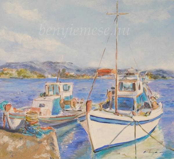 Halászhajók - Tájkép festmény